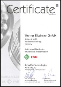 Certificate Ditzinger Authorized Distributor for products and services of INA FAG