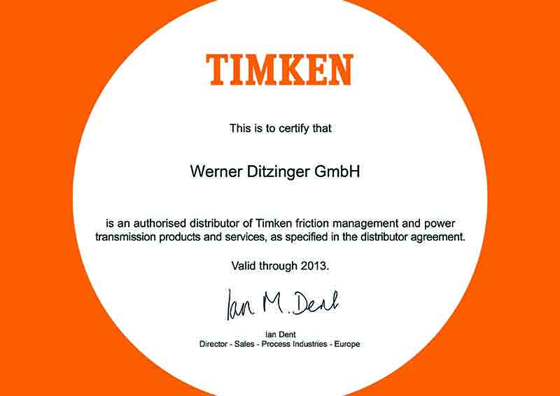 Certificate Ditzinger Authorized Distributor for products and services of TIMKEN