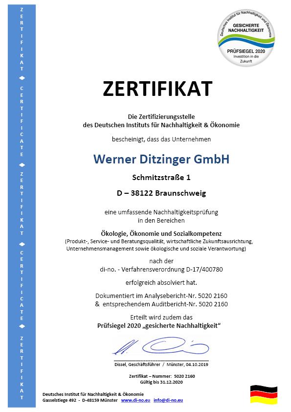ZERTIFIKAT Ditzinger Braunschweig 2019 - Deutsch