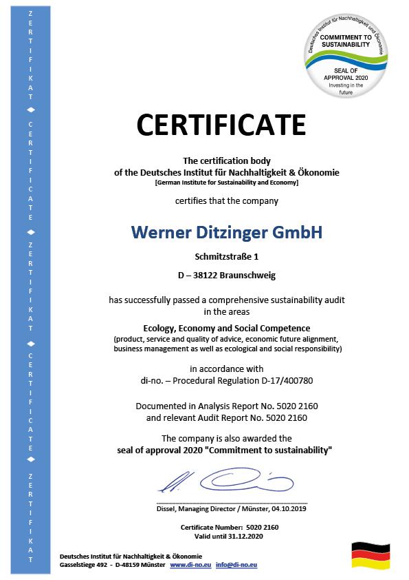 ZERTIFIKAT Ditzinger Braunschweig 2019 - Englisch